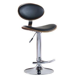 Favorite Finds Chrome/Walnut/Black Oval Adjustable Swivel Stool (Set
