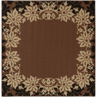 Warsaw Russet Floral Border Indoor/Outdoor Rug (83 x 73)