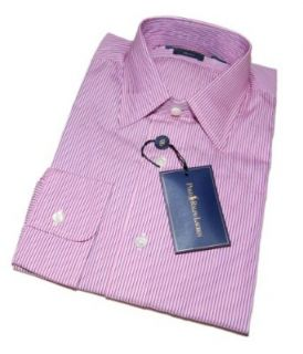 Lauren Mens Andrew Cotton Dress Shirt Pink White Stripe $145 Clothing