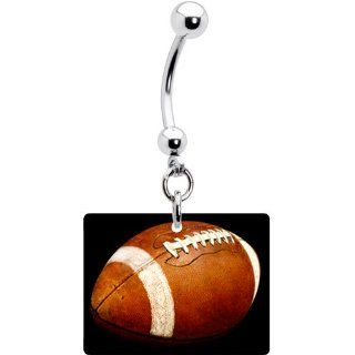 Black Football Belly Ring Jewelry