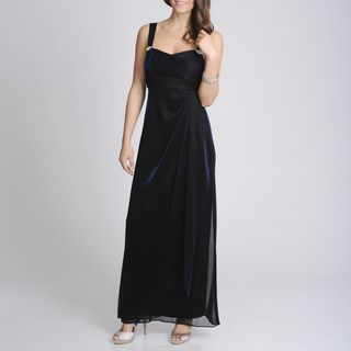 Betsy & Adam Womens Metallic Black Formal Evening Gown