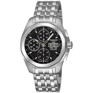 Tissot Mens PRC 100 Automatic Black Dial Chronograph Watch