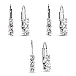 14k White Gold 1/4ct TDW Diamond Hoop Earrings (Set of 3)