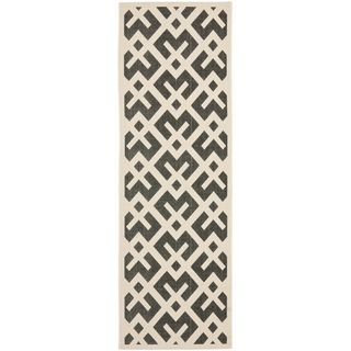 Safavieh Black/ Beige Indoor Outdoor Rug (22 x 12)