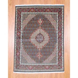 Persian Hand knotted Tabriz Navy/ Burgundy Wool/ Silk Rug (5 x 610