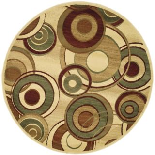 Lyndhurst Collection Circ Ivory/ Multi Rug (7 Round)