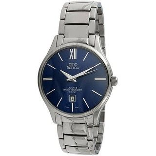 Gino Franco Mens Round Stainless Steel Watch