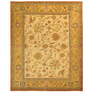 Handmade Antique Heritage Ivory/ Gold Wool Rug (96 x 136