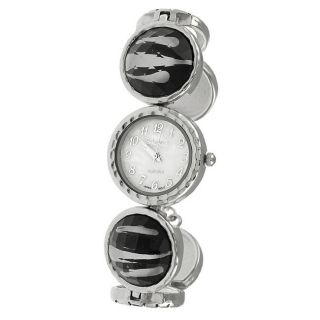 Geneva Platinum Womens Animal Print Toggle Watch