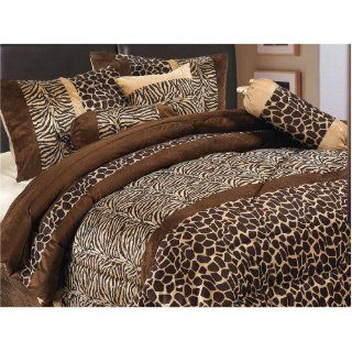 7 Piece Safari   Zebra   Giraffe Print Bedding Brown Micro