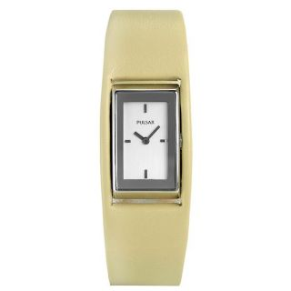 Pulsar Womens Casual Silver Dial Leather Strap Watch