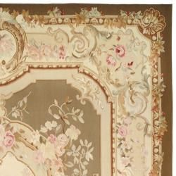 Hand knotted French Aubusson Taupe/ Ivory Wool Rug (8 x 10