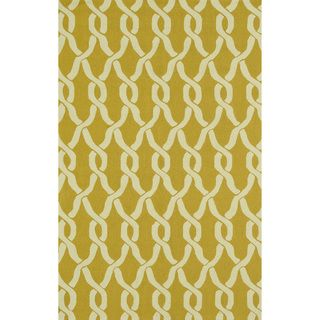 Handmade Indoor/ Outdoor Capri Gold Rug (76 x 96)