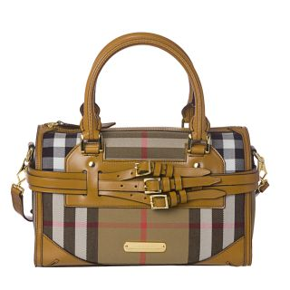Burberry Medium Check Canvas/ Leather Bowler Bag