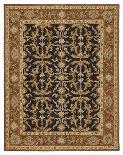 Hand tufted Romance Blue/Brown Border Rug (9 x 12)