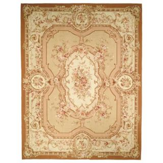 Hand knotted French Aubusson Beige/ Ivory Wool Rug (10 x 14