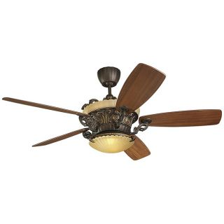 Strasburg 2 light Bronze Indoor Ceiling Fan