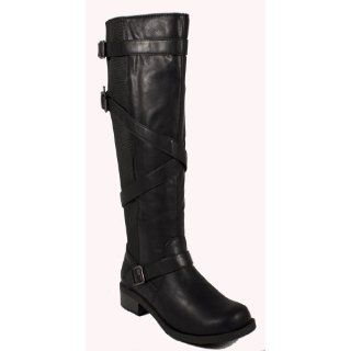 Warm By Soda Super Comfy Belted Knee high Riding Boots with Elastic