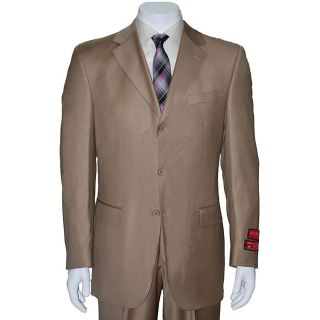 Mantoni Mens Taupe Three button Wool Suit