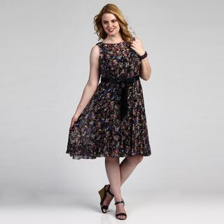 Jessica Howard Womens Plus Size Floral Dress FINAL SALE